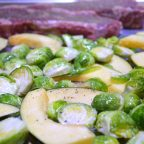 steak and veg on sheet pan, seasoned and ready to roast for Steak, acorn squash and brussels sprouts sheet pan meal