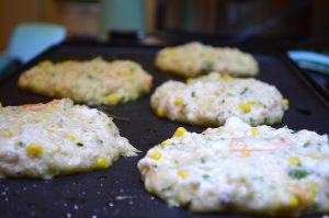 On the griddle! Amazingly delicious veggie flapjacks you can't stop eating