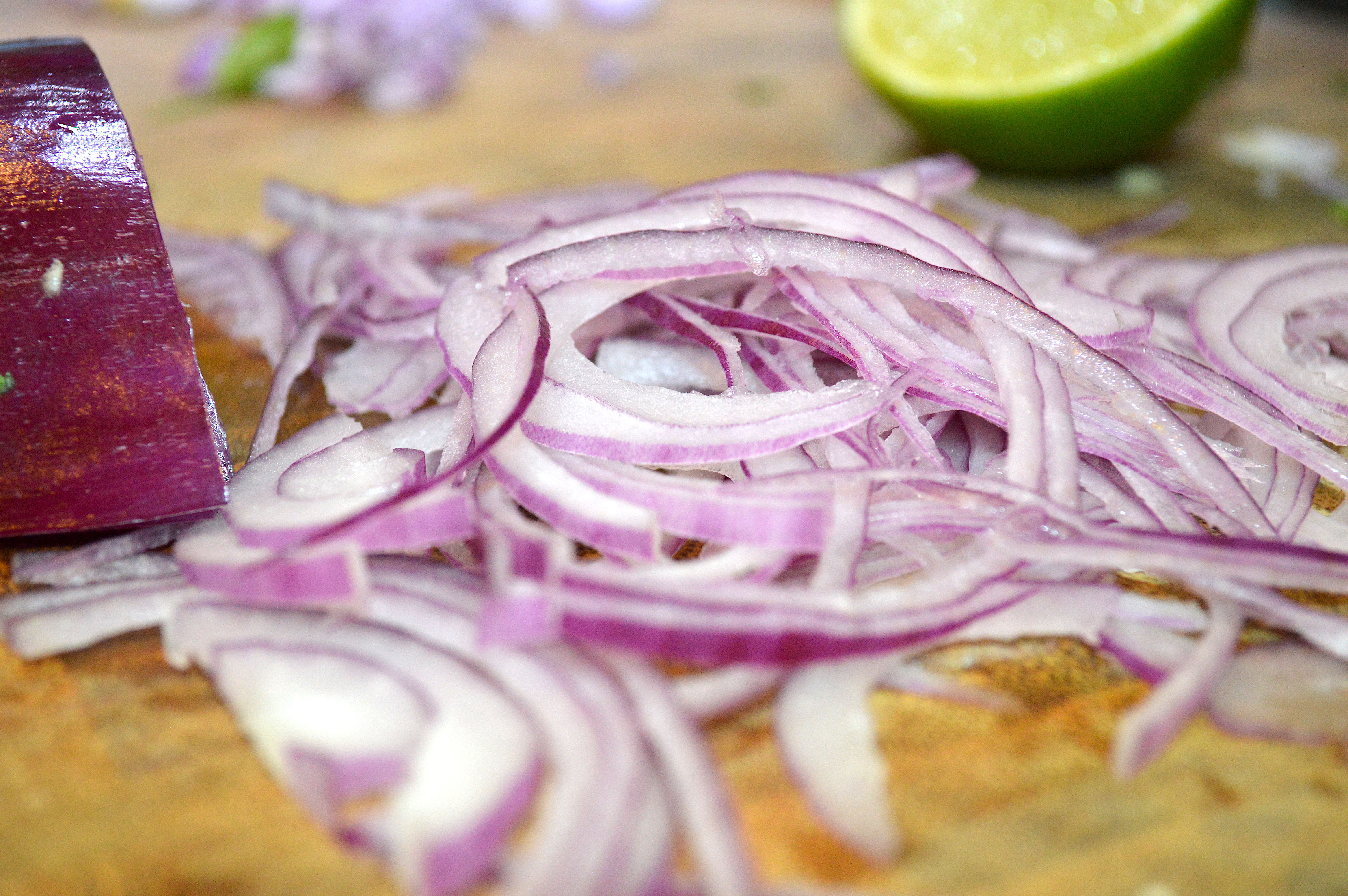 Red Onions Sliced Thinly
