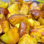 Hali Aloo, turmeric roasted potatoes found in post titled 'Achcha Khana (Good Food)'