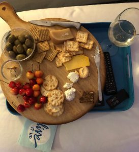 Cheese, crackers, olives, cherries and wine at Frank & Melissa's house, Seattle